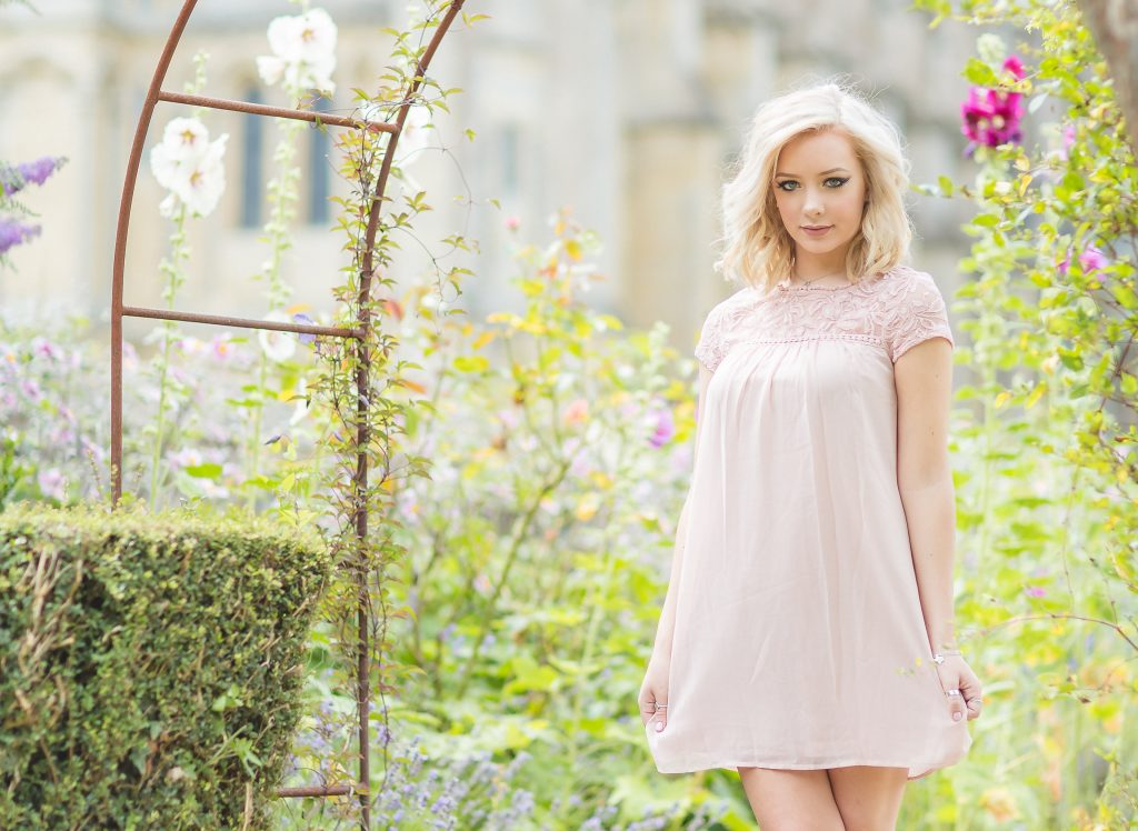 Independence High School in Dallas Texas senior photo girl in a pink dress